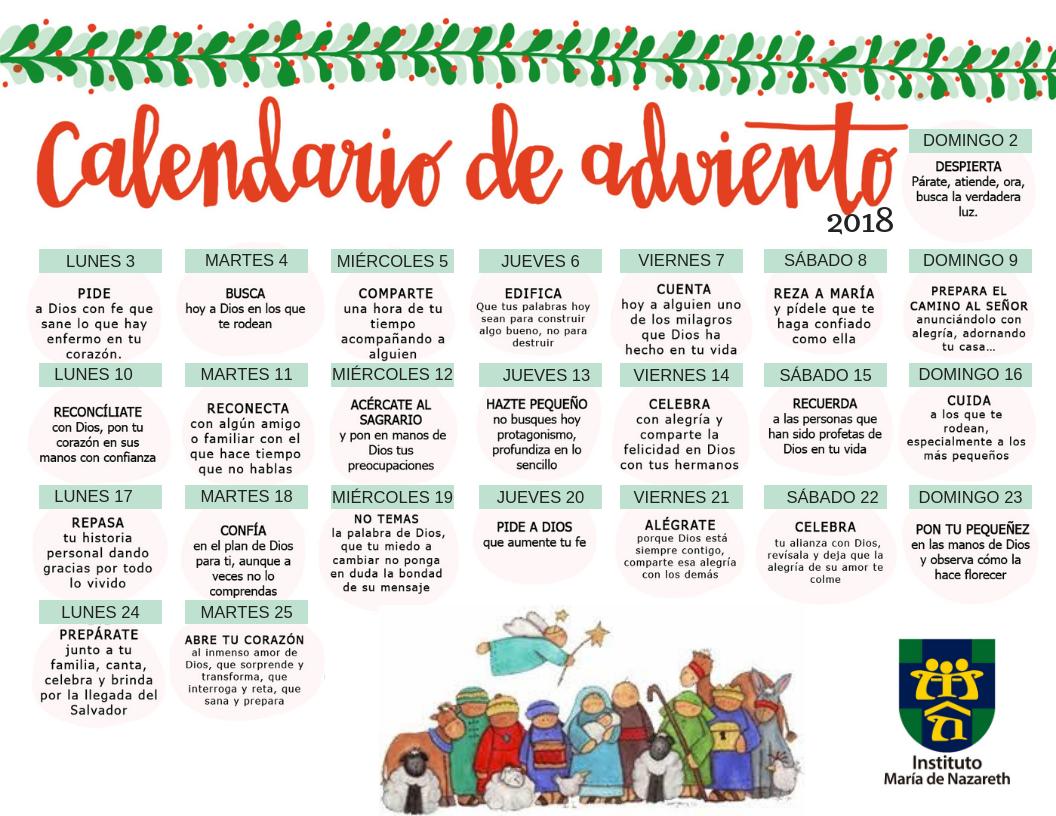 Adviento Calendario.Calendario De Adviento 2018 Instituto Maria De Nazareth